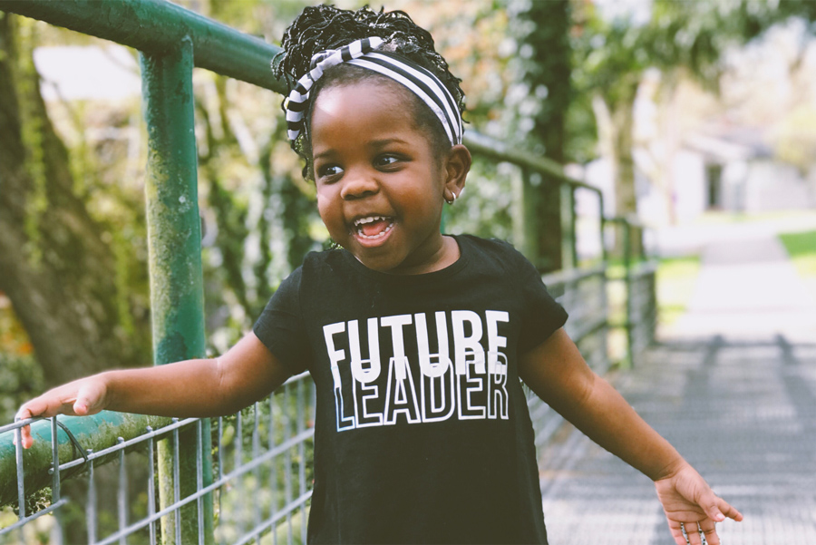 little girl with future leader t-shirt to show a true leader